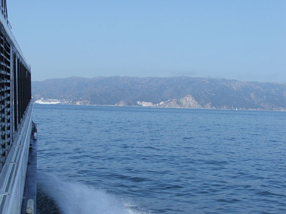 Catalina Island view from the boat. Crystal clear water and beautiful ...